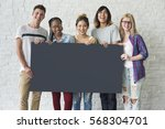 group of friends holding blank... | Shutterstock . vector #568304701