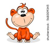 cute small crazy monkey at the... | Shutterstock .eps vector #568309345