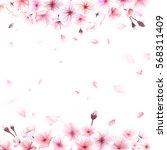 blooming cherry. spring... | Shutterstock .eps vector #568311409