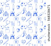 seamless pattern medical items. ... | Shutterstock .eps vector #568328671
