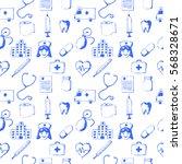 seamless pattern medical items. ... | Shutterstock .eps vector #568328671