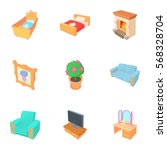 furniture icons set. cartoon... | Shutterstock .eps vector #568328704