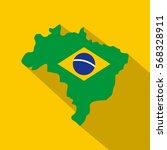 map of brasil icon. flat... | Shutterstock .eps vector #568328911