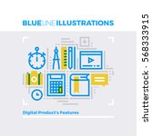 blue line illustration concept... | Shutterstock .eps vector #568333915