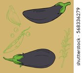 set of violet eggplants  green...