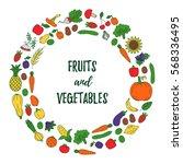 colorful fruits vegetables...   Shutterstock .eps vector #568336495