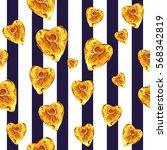 gold glittering heart seamless...   Shutterstock . vector #568342819
