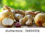 Onions and garlic. - stock photo