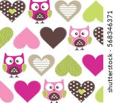 childish pattern with owls and... | Shutterstock .eps vector #568346371