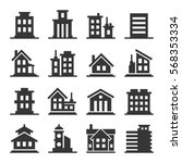 building icons set | Shutterstock .eps vector #568353334