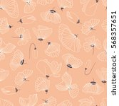 seamless pattern with poppy... | Shutterstock .eps vector #568357651