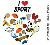 sports equipment  balls ... | Shutterstock .eps vector #568359391