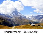 matterhorn with yellow field in ... | Shutterstock . vector #568366501