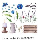 watercolor set of flowers ... | Shutterstock . vector #568368025