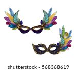 gold carnival mask collection... | Shutterstock .eps vector #568368619