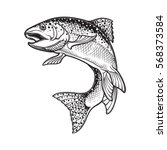 Realistic intricate drawing of the rainbow trout jumping out. Black and white sketch isolated on white background. Concept art for horoscope, tattoo or colouring book. EPS10 vector illustration