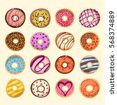 sweet donut set. the...   Shutterstock .eps vector #568374889