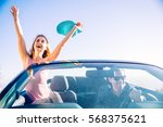 couple of lovers driving on a... | Shutterstock . vector #568375621