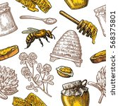 seamless pattern with honey ... | Shutterstock .eps vector #568375801