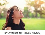young woman relaxing with good...   Shutterstock . vector #568378207