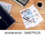 office desk table with... | Shutterstock . vector #568379125