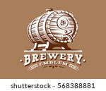 wooden beer barrel logo  ... | Shutterstock .eps vector #568388881