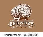 wooden beer barrel logo  ... | Shutterstock .eps vector #568388881