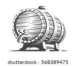 wooden beer barrel   vector... | Shutterstock .eps vector #568389475