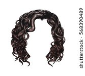 brown curly hairstyle. hand... | Shutterstock .eps vector #568390489