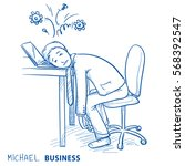 exhausted business man at his... | Shutterstock .eps vector #568392547