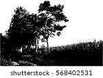realistic pine trees silhouette ... | Shutterstock .eps vector #568402531