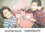 top view of hipster girlfriends ... | Shutterstock . vector #568406695