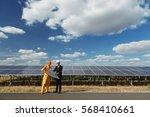 engineer checking the solar... | Shutterstock . vector #568410661