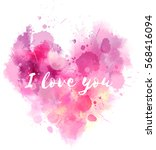watercolor imitation valentine... | Shutterstock .eps vector #568416094