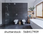 glass floor shower in modern... | Shutterstock . vector #568417909