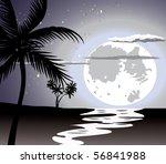 Ocean In The Night  Full Moon...