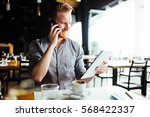 businessman constantly busy and ... | Shutterstock . vector #568422337