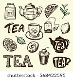 hand drawn tea time collection. ... | Shutterstock .eps vector #568422595