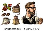 hipster barista holding a cup... | Shutterstock . vector #568424479