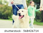 Stock photo family pet domestic animal and people concept close up of family with labrador retriever dog on 568426714