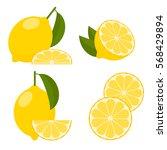 icon set lemon  vector... | Shutterstock .eps vector #568429894