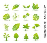 Green Leaf Icons Set. Nature  ...
