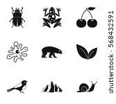 Flora Icons Set. Simple...