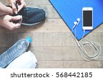 flat lay of mobile phone with... | Shutterstock . vector #568442185
