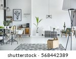 white and spacious living room... | Shutterstock . vector #568442389