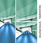 Futuristic blue tones lighting 3D render deck. Future architecture vertical wide screen composition. - stock photo