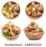 ginger in a wooden bowl | Shutterstock . vector #568453234