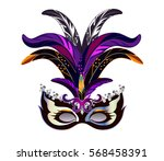 carnival mask with feathers for ... | Shutterstock .eps vector #568458391