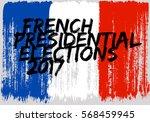 french flag paint brush strokes ... | Shutterstock .eps vector #568459945