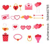 vector set of valentine icons. | Shutterstock .eps vector #568460785